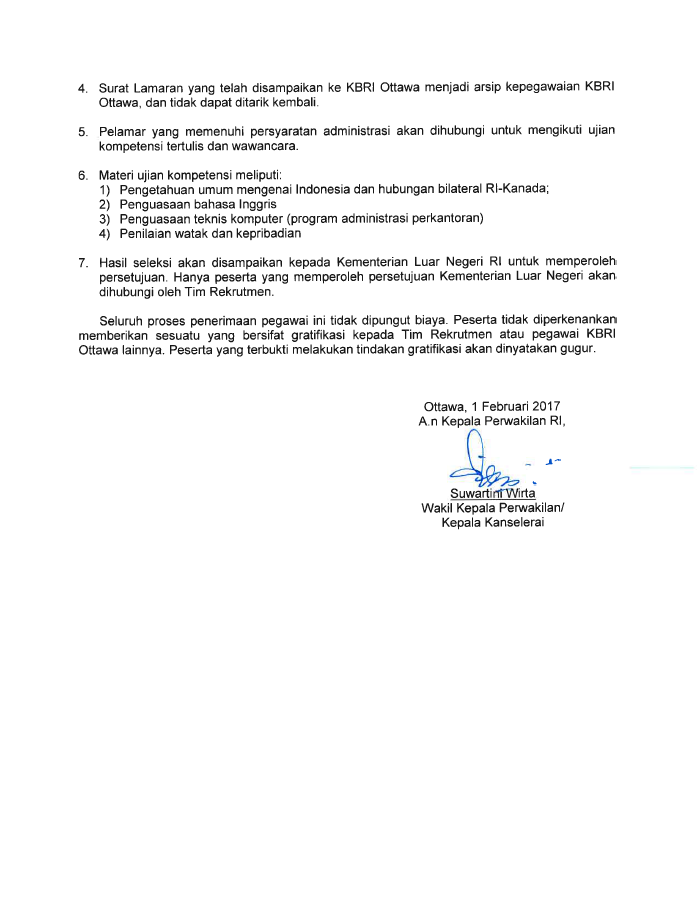 Rekrutmen Staf Teknis Administratif KBRI-Ottawa