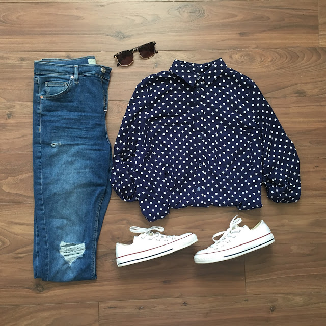 sweet allure fashion getting a little shirty flat lay outfit of the day converse jamie jeans topshop h&m shirt polkdots sunglasses