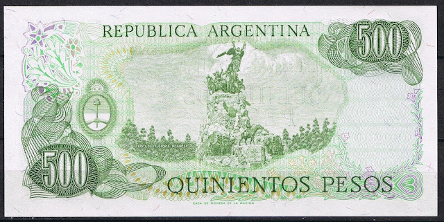 Argentina Banknotes 500 Pesos banknote 1980 Monument to the Army of the Andes, Cerro de la Gloria