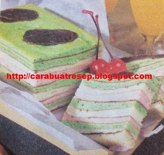 Foto Kue Lapis Pelangi Putih Telur Warna-warni Rainbow