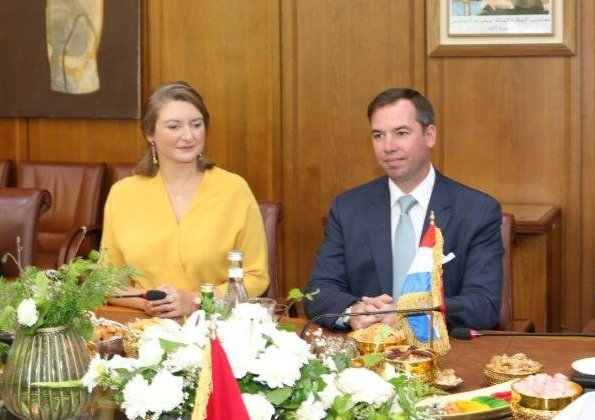 Prince Guillaume and Princess Stephanie arrived in Casablanca-Settat, Morocco. She wore floral print blouse, yellow dress