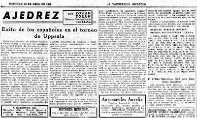 Partida de ajedrez Bordell vs. Polugaievsky 1956 en La Vanguardia