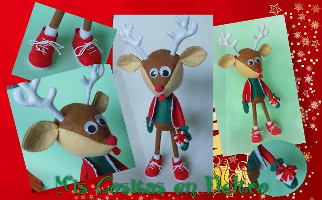 reno, Navidad, decoración navideña, muñeco de fieltro, Reindeer, felt doll, Chistmass, Nadal, natal, rudolf