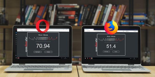 Benchmark Opera 51 più veloce di Firefox 58