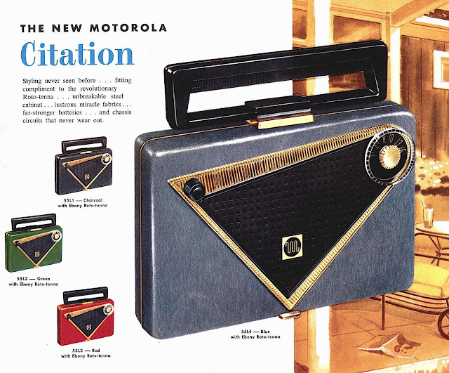 Motorola Citation portable radio with steel casing 1955, a color photograph