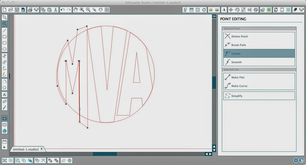 Circle monogram, Silhouette, Silhouette tutorial, Silhouette Studio, edit points
