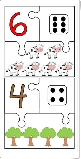 """""""Puzzle de números hasta el 10"""" (Fichas de Matemáticas de Infantil)"""