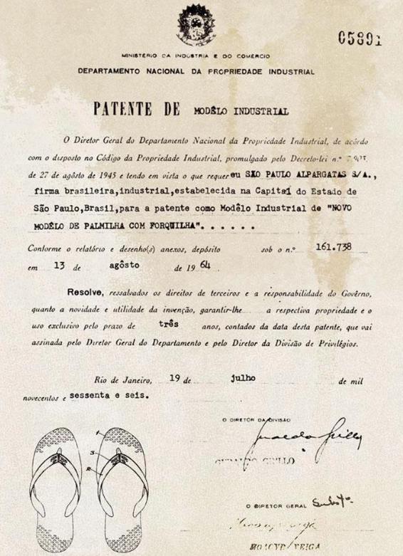 Documento de concessão à patente das sandálias Havaianas