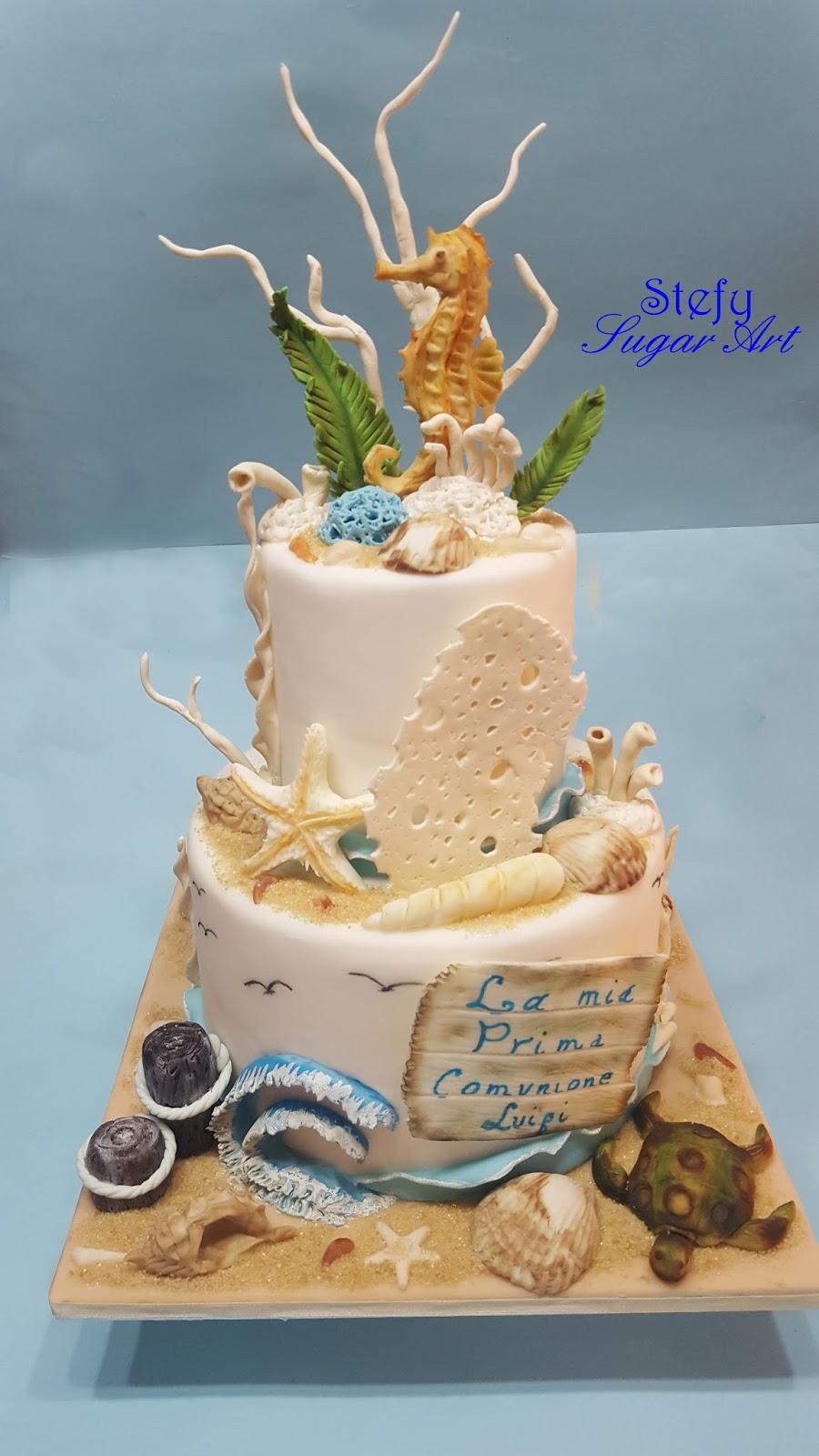 Pasticci in famiglia sugar cake prima comunione tema mare for Decorazioni torte tema mare