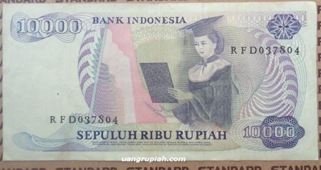 Gambar belakang uang 10000 rupiah tahun 1985