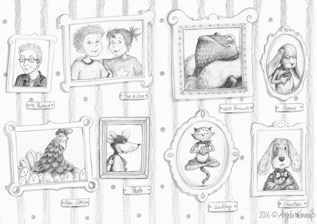 protagonisten, zeichnung, bleistift, Kommoß, Kinderbuchillustration, mumpitze, südpol verlag,  stofftier, genäht
