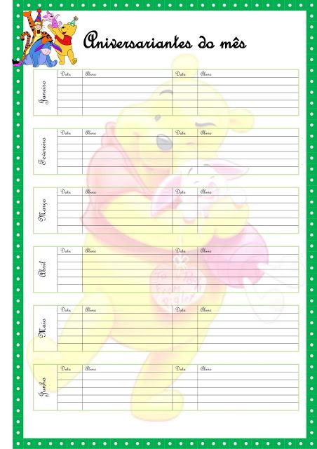 Planner Ursinho Pooh