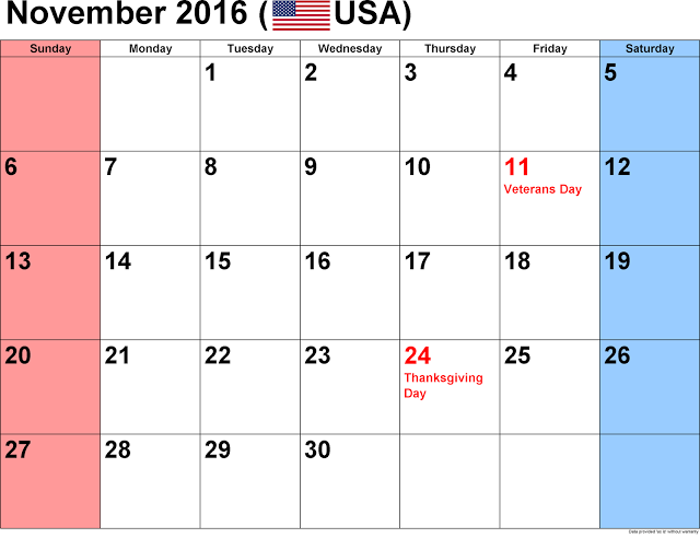 November 2016 Holiday Calendar USA, November 2016 USA Holiday Calendar, November 2016 Holiday Calendar, November 2016 Calendar with Holidays, November 2016 Calendar Holidays