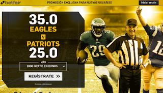 betfair supercuota super bowl victoria de Eagles o Patriots 4 febrero