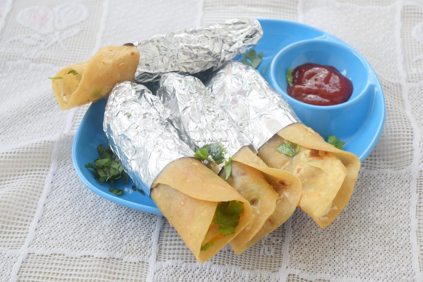 Cheese Aloo Patties Frankie Recipe - चीज़ आलू पेटिस फ्रैंकी रेसिपी - Priya R - Magic of Indian Rasoi