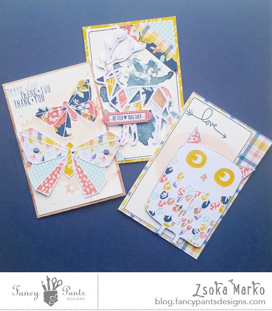 Pieced animal cards - DT project for Fancy Pants Designs
