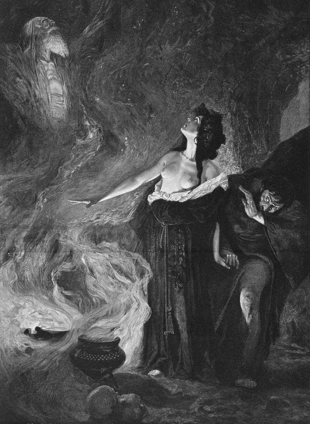 The Witch of Endor conjures up the spirit of Samuel at the request of Saul