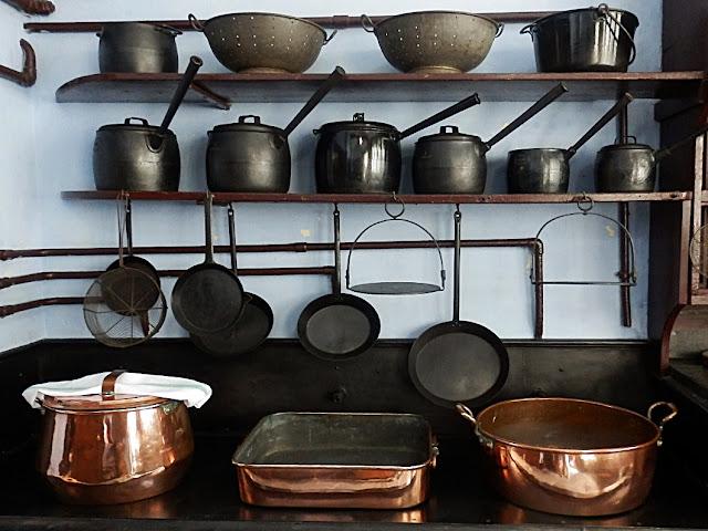 Victorian cooking pots at Lanhydrock House, Cornwall