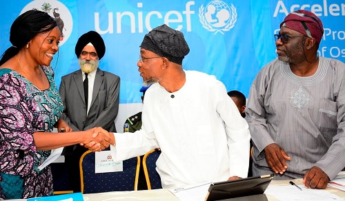 Governor Aregbesola at the Opening Plenary of the State of Osun Social Protection Study Tour of United Nations International Children's Emergency Fund (UNICEF) at Aurora event Center, Osogbo.