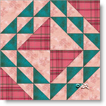 Roulette Wheel quilt block © W. Russell, patchworksquare.com