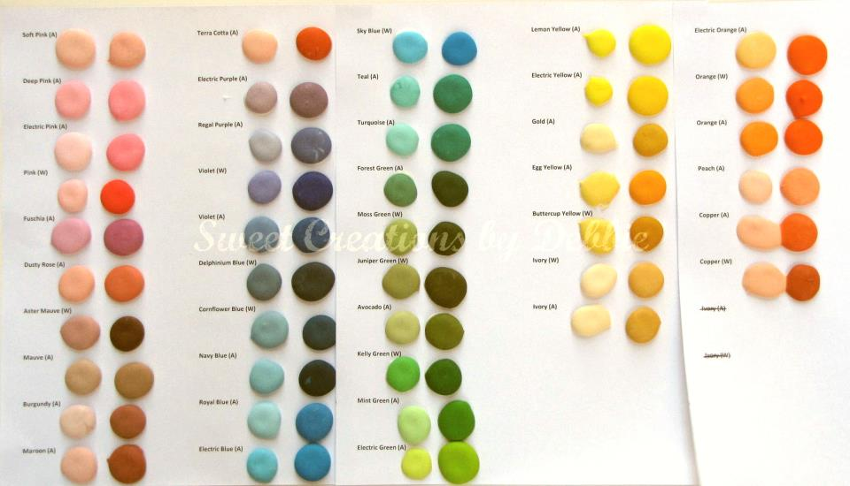 Sweet Creations by Debbie My Color Chart - food coloring chart