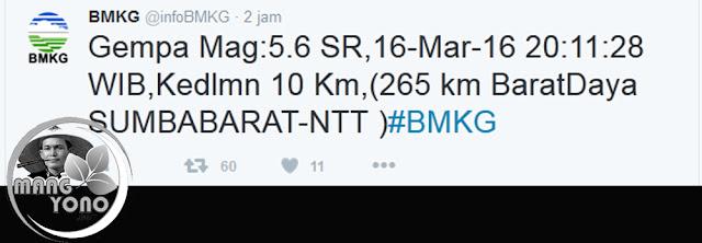 Gempa bumi berkekuatan 5,6 SK, mengguncang Sumba Barat, NTT