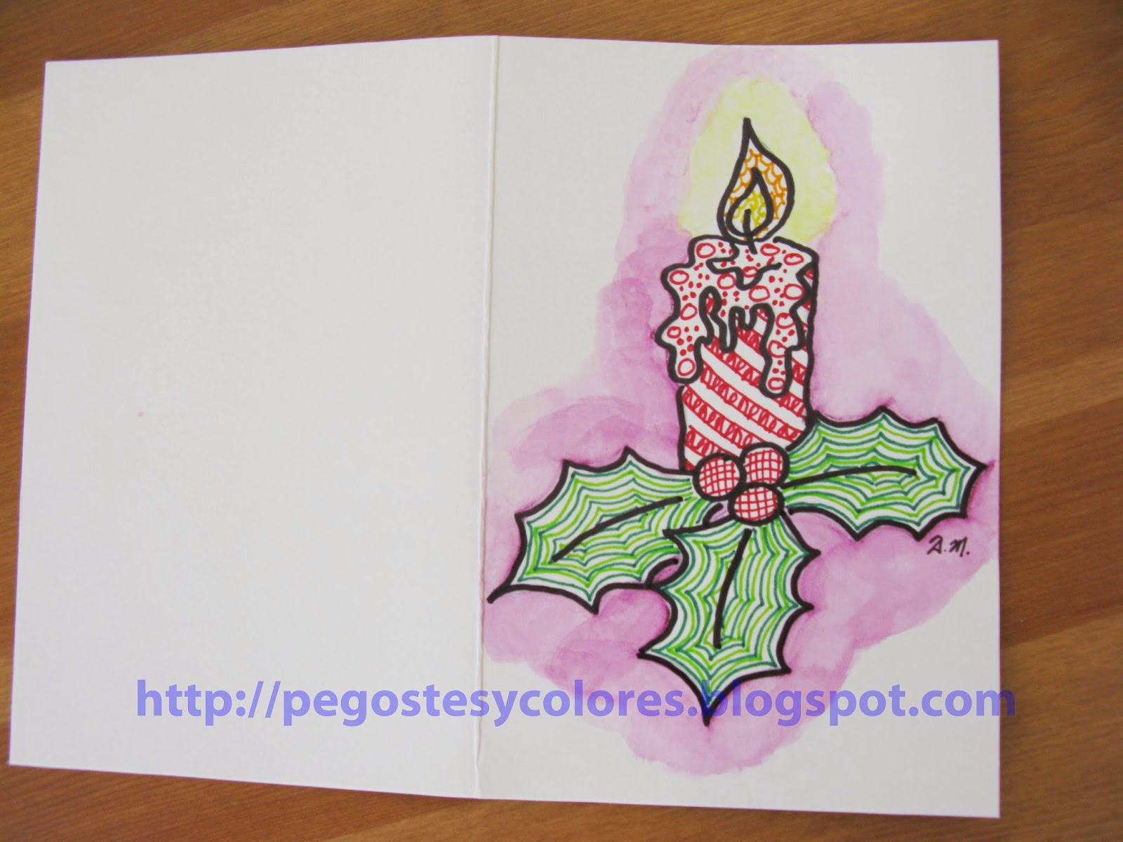 Pegostes y Colores: Tarjeta de Vela de Navidad de Zentangle