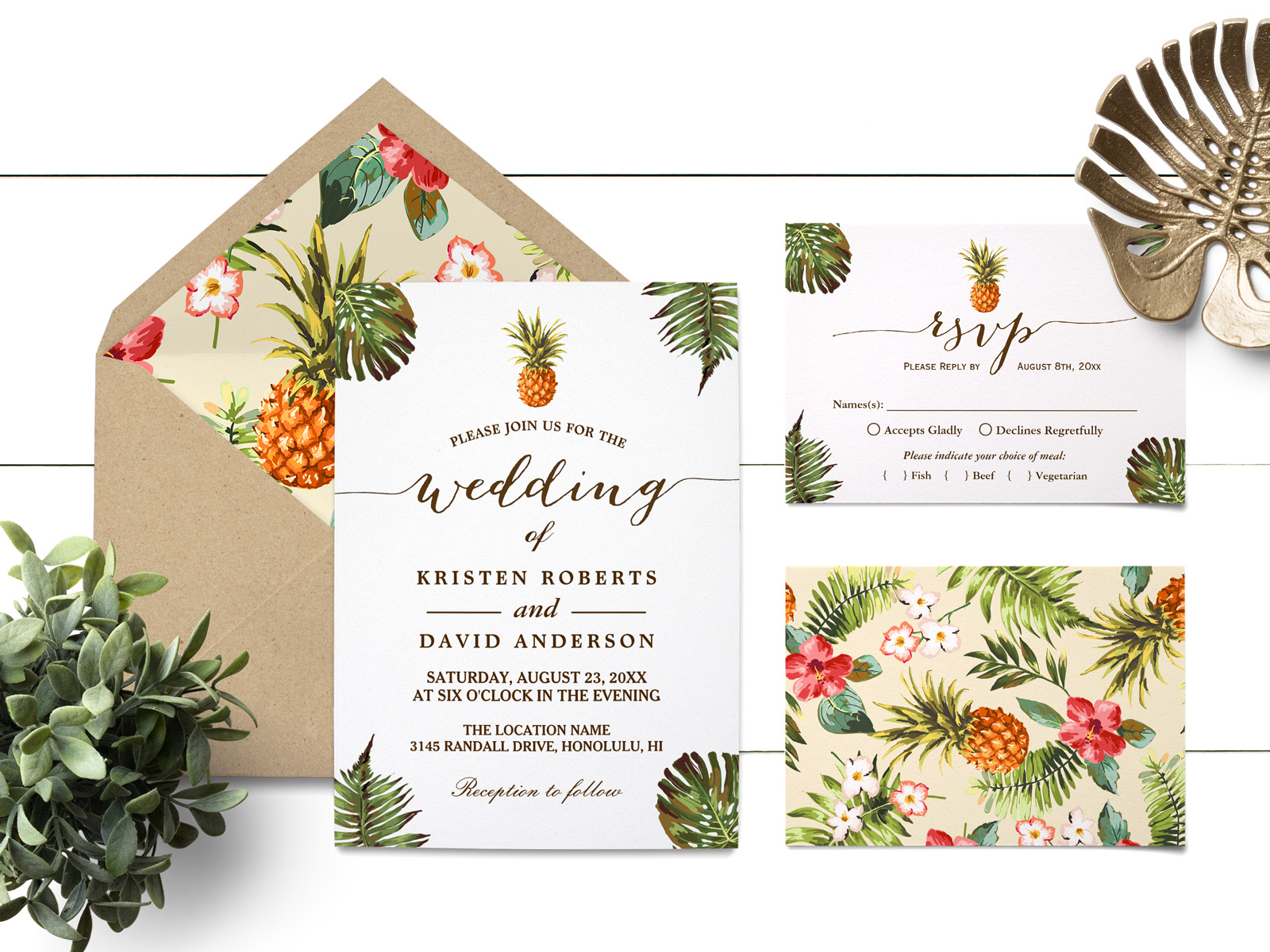 Tropical Leaves Pineapple Luau Wedding Invitation Suite Mimoprints Find customizable tropical invitations of all sizes. tropical leaves pineapple luau wedding