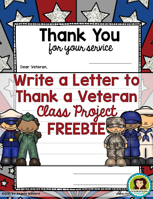 Veterans Day Thank a Veteran Friendly Letter Template FREEBIE to send a letter to a veteran from previous wars or military conflicts.