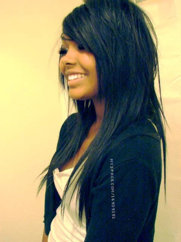 Long Hair Cut With Side Bangs & layers. So wish my hair looked good long cause this would be my cut...NO doubt! ;)