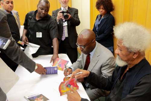 Professor Wole Soyinka at the book signing event in London