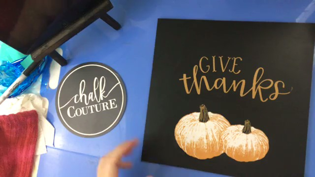 Vintage Paint and more... the sign after the shimmery copper details have been applied to the pumpkins