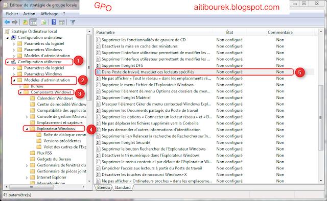 GPO serveur 2008 : Comment masquer ou restreindre l'accès à une partition