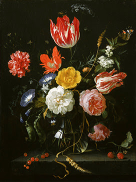 Jan Davidszoon de Heem Glass Vase with flowers on a stone ledge ,ca.1655-1660