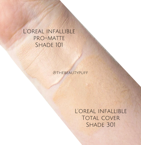 l'oreal infallible pro-matte vs total cover swatches - the beauty puff