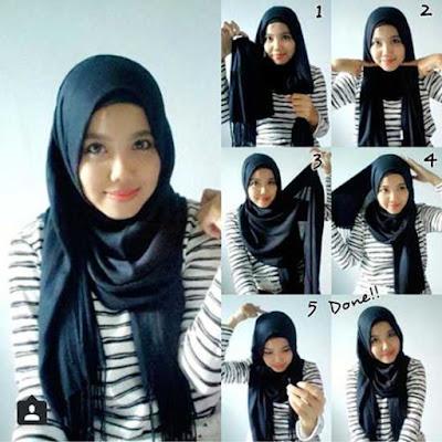 5 Tutorial Hijab Pashmina Katun Ima Simple