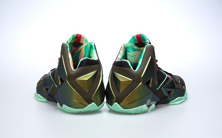 new product 60f54 0b235 Nike LeBron XI Parachute Gold Arctic Green-Dark Loden-Black 616175-700 10 12  13  200