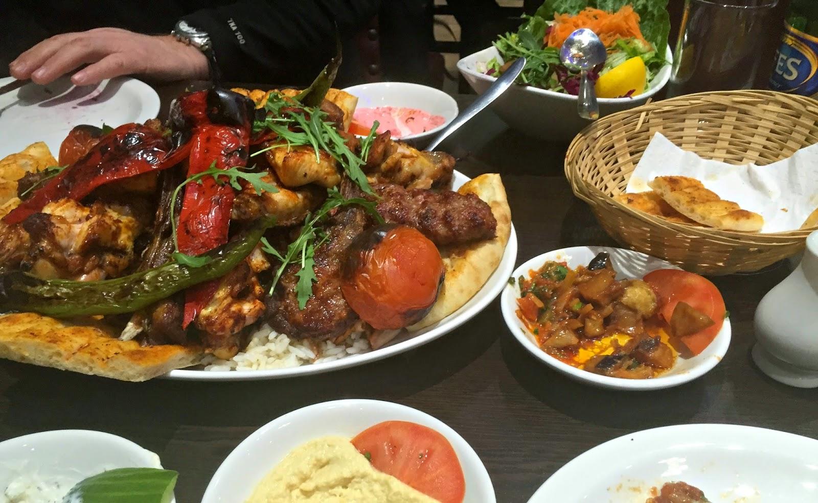 Platter of kebab and pitta