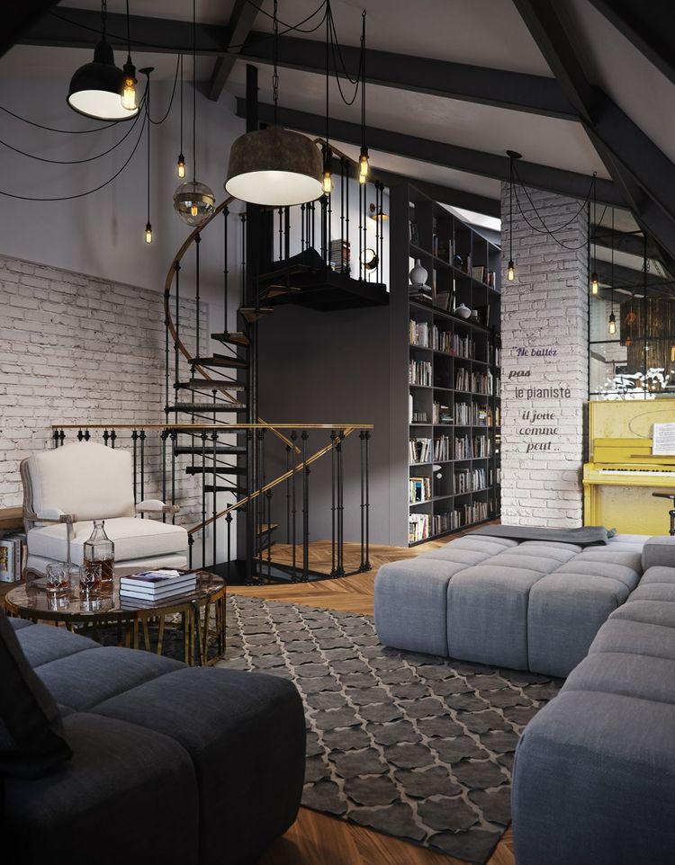 Danish Style Sofa Australia Sure Fit Stretch Pinstripe 2 Piece T Cushion Slipcover Slanted Attic Apartment By Vladimir Bolotkin | Home Img