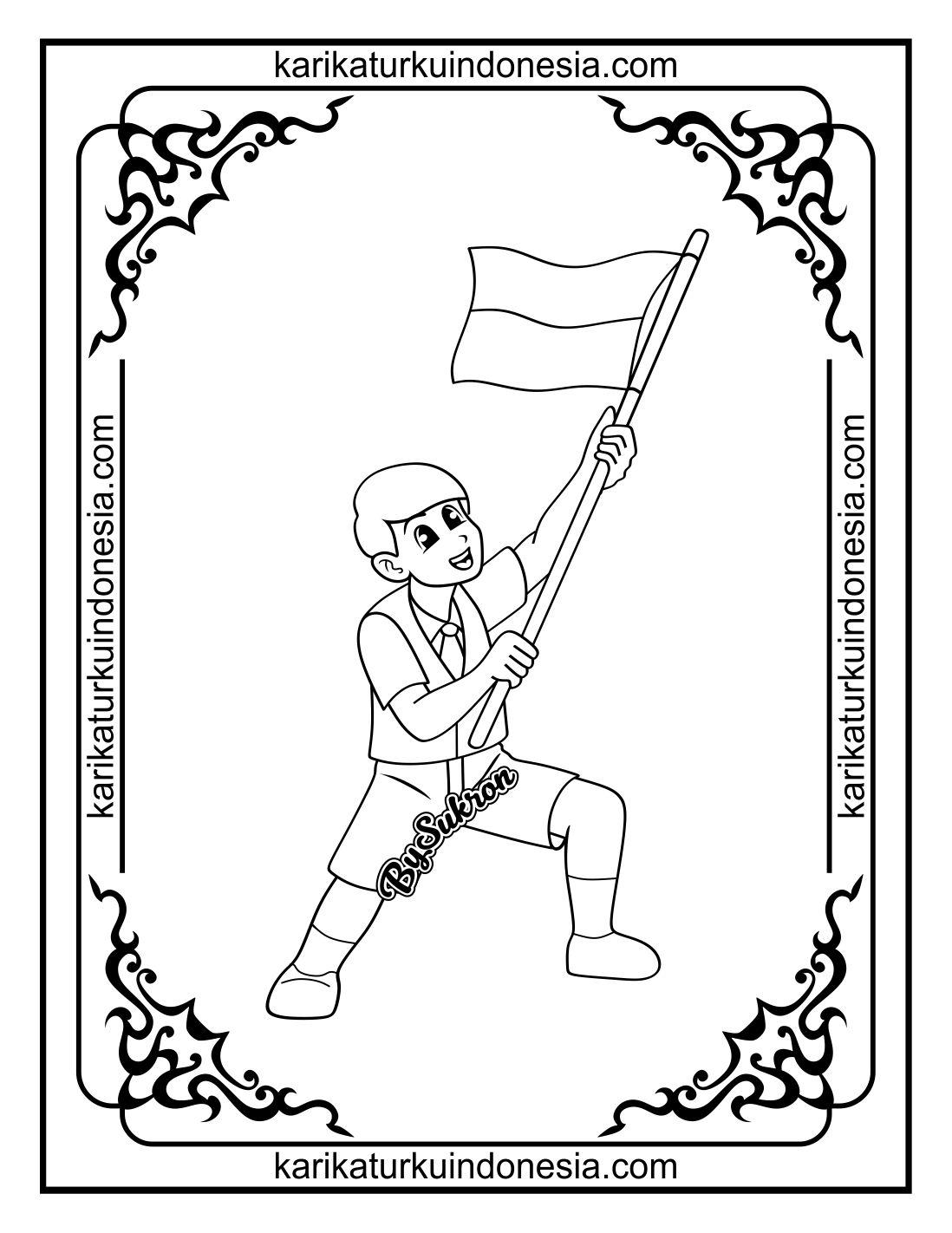 Karikaturku Indonesia Mewarnai Gambar Anak Mengibarkan Bendera