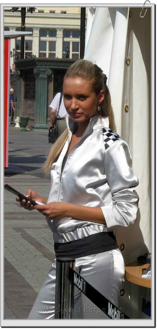Girl In Silver Suit at Bavaria Moscow City Racing 2008