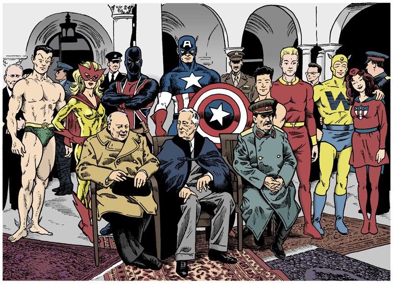 Sub-Mariner, Spitfire, Union Jack, Captain America, Toro, Human Torch, Whizzer, and Miss America, among various military personnel, standing behind Winston Churchill, Franklin D. Roosevelt, and Joseph Stalin, who are sitting in chairs.