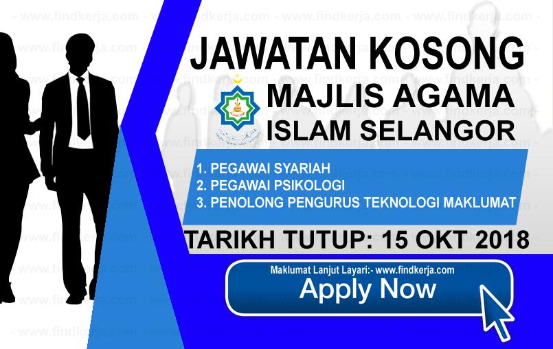 Jawatan Kerja Kosong MAIS - Majlis Agama Islam Selangor logo www.findkerja.com www.ohjob.info oktober 2018