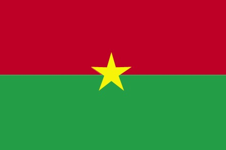 Burkina Faso flag has two equal horizontal bands of red (top) and green with a yellow five-pointed star in the center; red recalls the country's struggle for independence, green is for hope and abundance, and yellow represents the country's mineral wealth.