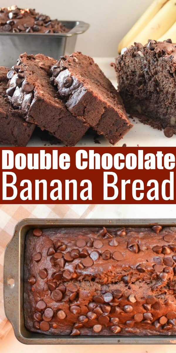 Double Chocolate Banana Bread recipe is easy to make, moist and super chocolaty from Serena Bakes Simply From Scratch.