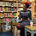 Gail Carriger in Vintage 1950's Navy Polka Dot Dress with Red (Manners & Mutiny Tour)
