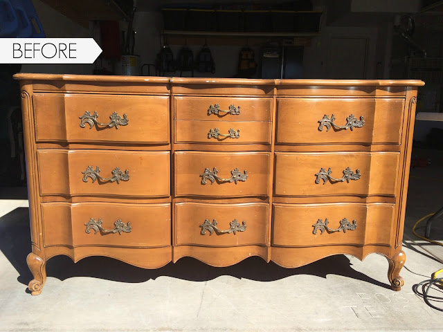diy, how to paint furniture, painting furniture, how to refinish a dresser, country chic paint, metallic cream, wood filler, sanding furniture
