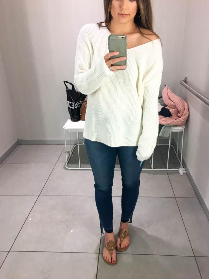 white h&m v neck sweater, fall outfit 2017, amanda sumner, the girlish blog, girl(ish), sc fashion blogger