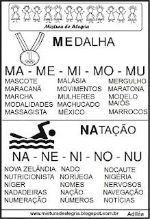 Ficha de leitura com palavras olímpicas