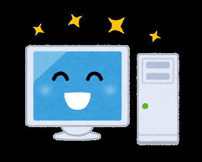 パソコンのキャラクター(笑顔・デスクトップ)